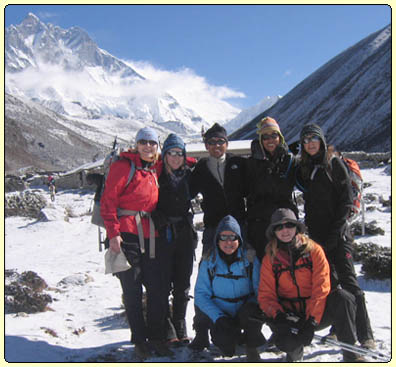 % ladies from USA on our Everest base camp trek at Khumbu valley