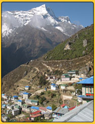 View of the Himalaya from namche Bazar - trek on the wya to Everest bas ecamp